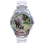 Wild Animal Rhino Stainless Steel Analogue Men's Watch