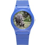 Wild Animal Rhino Round Plastic Sport Watch Small