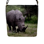 Wild Animal Rhino Flap Closure Messenger Bag (Large)