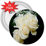 White Rose 3  Button (10 pack)