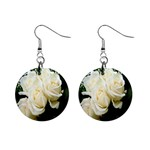 White Rose 1  Button Earrings