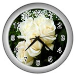 White Rose Wall Clock (Silver)