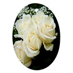 White Rose Oval Ornament (Two Sides)