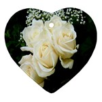 White Rose Heart Ornament (Two Sides)