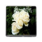 White Rose Memory Card Reader with Storage (Square)