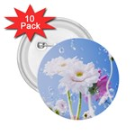 White Gerbera Flower Refresh From Rain 2.25  Button (10 pack)