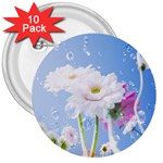 White Gerbera Flower Refresh From Rain 3  Button (10 pack)