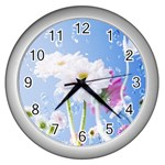 White Gerbera Flower Refresh From Rain Wall Clock (Silver)