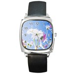 White Gerbera Flower Refresh From Rain Square Metal Watch