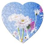 White Gerbera Flower Refresh From Rain Jigsaw Puzzle (Heart)