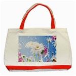 White Gerbera Flower Refresh From Rain Classic Tote Bag (Red)