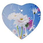 White Gerbera Flower Refresh From Rain Heart Ornament (Two Sides)
