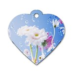 White Gerbera Flower Refresh From Rain Dog Tag Heart (Two Sides)
