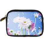 White Gerbera Flower Refresh From Rain Digital Camera Leather Case