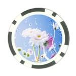 White Gerbera Flower Refresh From Rain Poker Chip Card Guard (10 pack)