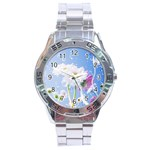 White Gerbera Flower Refresh From Rain Stainless Steel Analogue Men's Watch