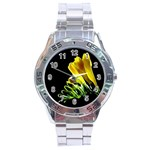 Yellow Freesia Flower Stainless Steel Analogue Men's Watch
