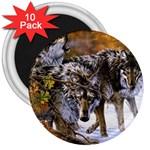 Wolf Family Love Animal 3  Magnet (10 pack)