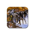 Wolf Family Love Animal Rubber Coaster (Square)