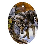 Wolf Family Love Animal Oval Ornament (Two Sides)