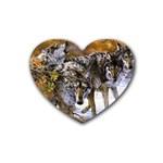 Wolf Family Love Animal Heart Coaster (4 pack)