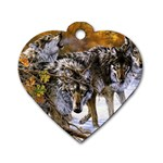 Wolf Family Love Animal Dog Tag Heart (Two Sides)