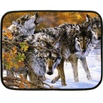 Wolf Family Love Animal Mini Fleece Blanket(Two Sides)