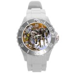 Wolf Family Love Animal Round Plastic Sport Watch Large