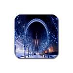 London Eye And  Ferris Wheel Christmas Rubber Coaster (Square)