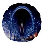 London Eye And  Ferris Wheel Christmas 18  Premium Round Cushion