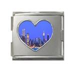 Usa New York Skycrapers Mega Link Heart Italian Charm (18mm)