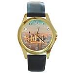 New York Manhattan Round Gold Metal Watch