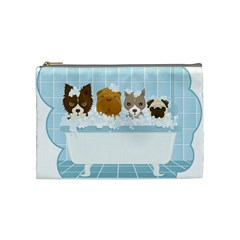Dogs In Bath Cosmetic Bag (medium) by cutepetshop