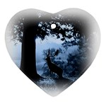 Animal Deer In Forest Ornament (Heart)