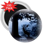 Animal Deer In Forest 3  Magnet (100 pack)