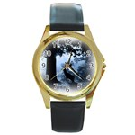 Animal Deer In Forest Round Gold Metal Watch