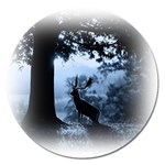 Animal Deer In Forest Magnet 5  (Round)