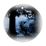 Animal Deer In Forest Round Ornament (Two Sides)