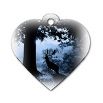 Animal Deer In Forest Dog Tag Heart (Two Sides)