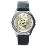 Animal Lion Hunting For Love Round Metal Watch