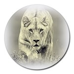 Animal Lion Hunting For Love Round Mousepad