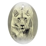 Animal Lion Hunting For Love Ornament (Oval)