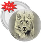 Animal Lion Hunting For Love 3  Button (10 pack)