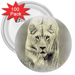 Animal Lion Hunting For Love 3  Button (100 pack)