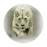 Animal Lion Hunting For Love Round Ornament (Two Sides)