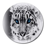 Animal Leopard In Snow Round Mousepad