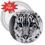 Animal Leopard In Snow 3  Button (10 pack)