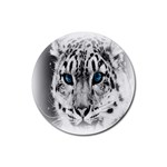 Animal Leopard In Snow Rubber Round Coaster (4 pack)
