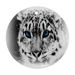 Animal Leopard In Snow Round Ornament (Two Sides)
