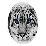 Animal Leopard In Snow Oval Ornament (Two Sides)